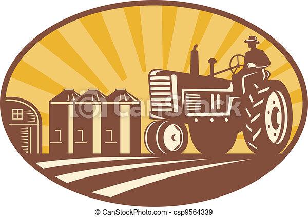 Farmer Driving Vintage Tractor Retro Woodcut - csp9564339