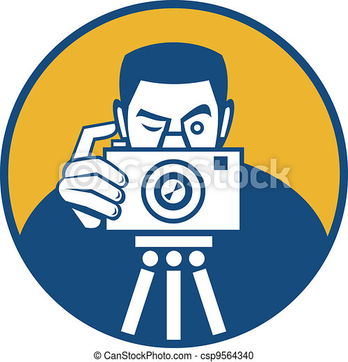 Photographer With Camera Retro - csp9564340