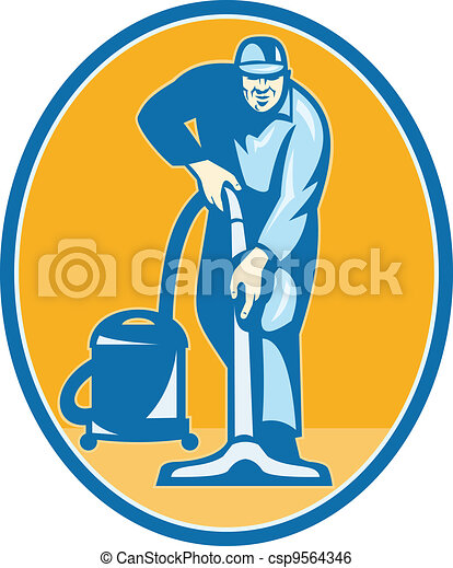 Cleaner Janitor Worker Vacuum Cleaning - csp9564346