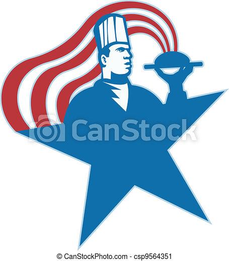 Chef Cook Baker Serving Hot Food Stars Stripes - csp9564351