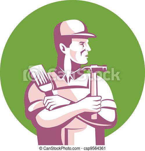 Carpenter Painter Construction Worker - csp9564361