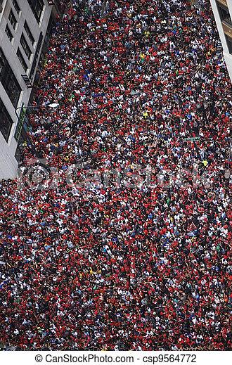 Crowd Celebrates at Parade - csp9564772