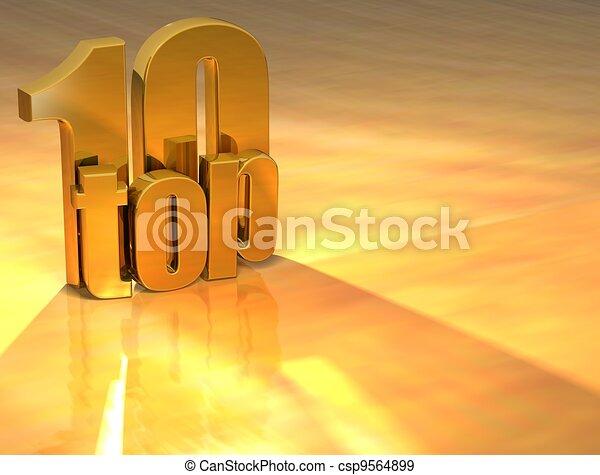 3D Top 10 Gold Text - csp9564899
