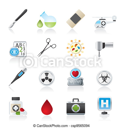 Medicine and hospital icons - csp9565094