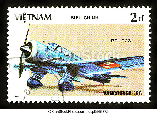 VIETNAM - CIRCA 1986: A stamp printed by VIETNAM shows military aircraft ( PLZ.P23) Circa 1986 - csp9565372