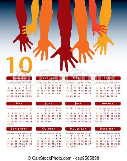 Giving hands 2010 vector calendar.  - csp9565838