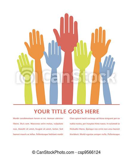 Colorful hands volunteering. - csp9566124