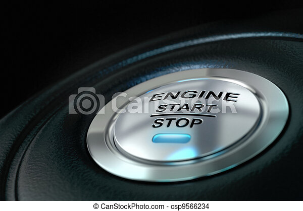 Car engine start and stop button with blue light anf black textured background, close up and details on the text - csp9566234