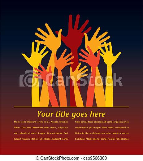 Many bright happy hands. - csp9566300