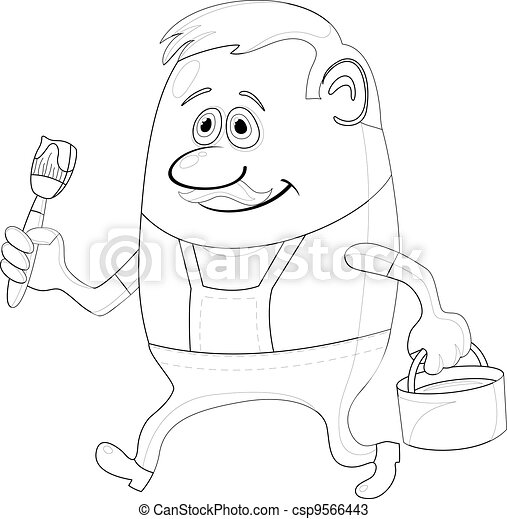 Painter with bucket, contour - csp9566443
