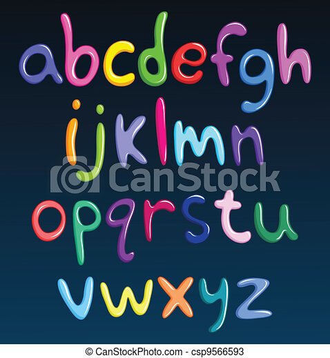 Lower case colorful spaghetti alphabet - csp9566593