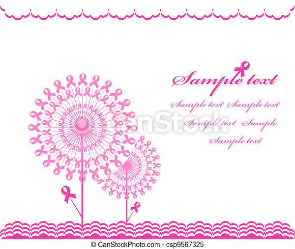 vector illustration of an abstract pink Support Ribbon  background - csp9567325