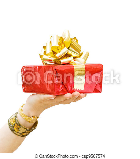 Happy Birthday - giving a gift - csp9567574