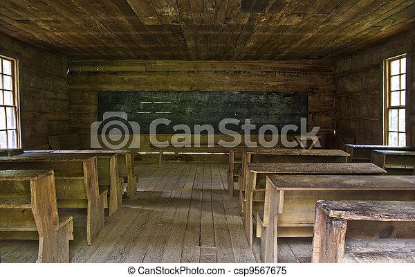 One room rustic school house - csp9567675