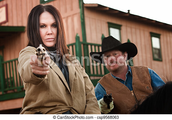 Old West Partners Aim Guns - csp9568063