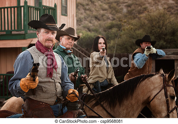 Four Tough Western Robbers - csp9568081