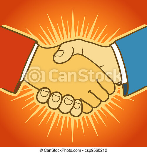 Illustration of two businessmen shaking hands. Good deal - csp9568212