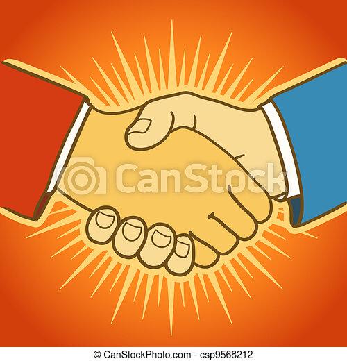 Illustration of two businessmen shaking hands. Good deal - csp9568212