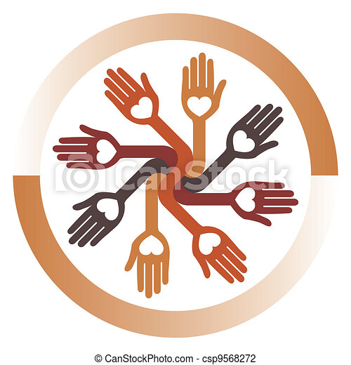 Loving circular hands vector.  - csp9568272