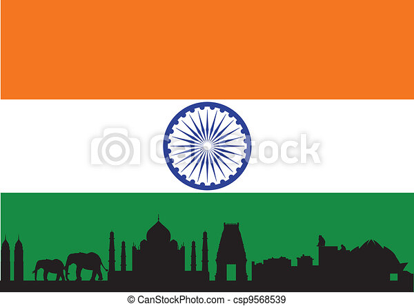 india skyline with flag - csp9568539