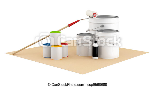 Cans and bucket with color paint and roller brush - csp9568688