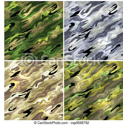 Seamless vector backgrounds - military camouflage fabric. - csp9568792