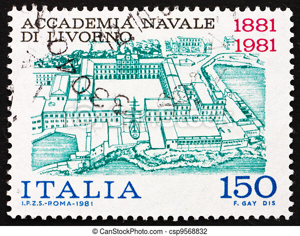 Postage stamp Italy 1981 shows View of Naval Academy of Livorno - csp9568832