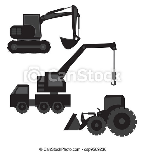 construction machinery silhouetted - csp9569236