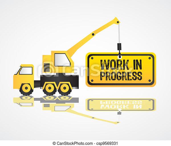 crane design, work in progress, vector illustration - csp9569331