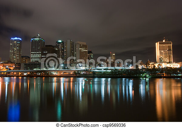Brisbane City At Night - Queensland - Australia - csp9569336