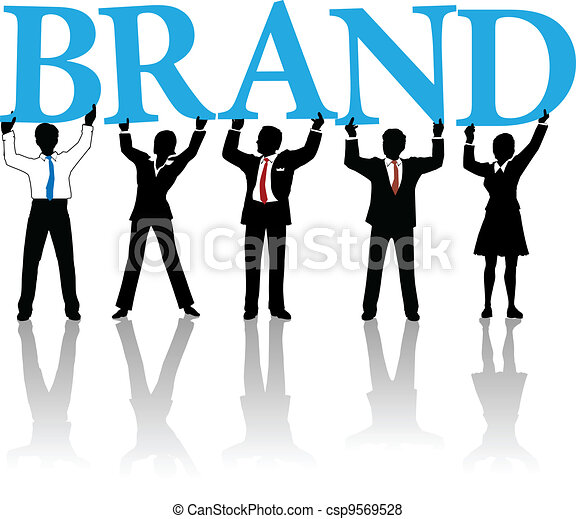 Business people build brand identity word - csp9569528