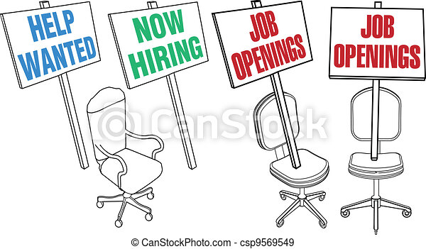 Office chair Help Wanted Job Hiring Icons - csp9569549