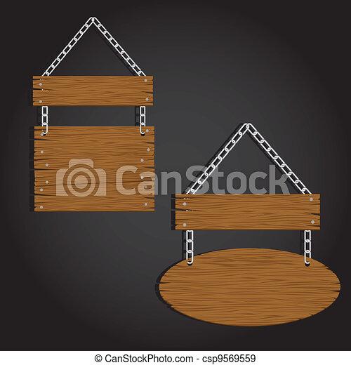 circular wooden signage  - csp9569559