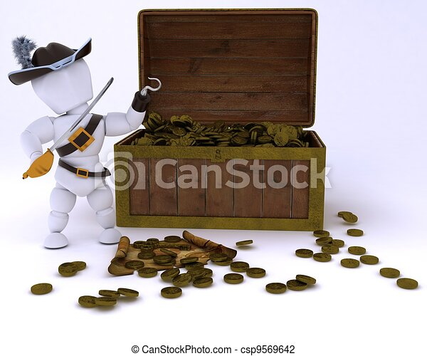 Pirate with a treasure chest - csp9569642