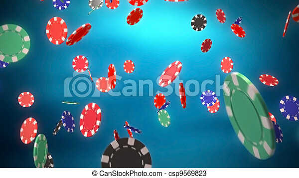 Casino color chips dropping with blue background - csp9569823