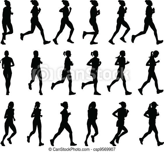 female marathon runners - csp9569907