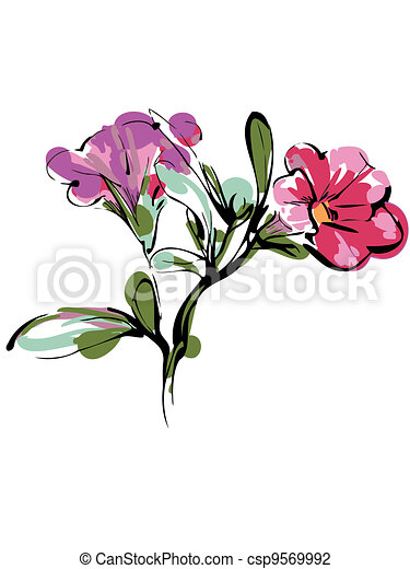sketch of branch with two pink buds and foliage - csp9569992