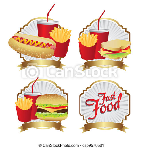 labels fast food combo - csp9570581