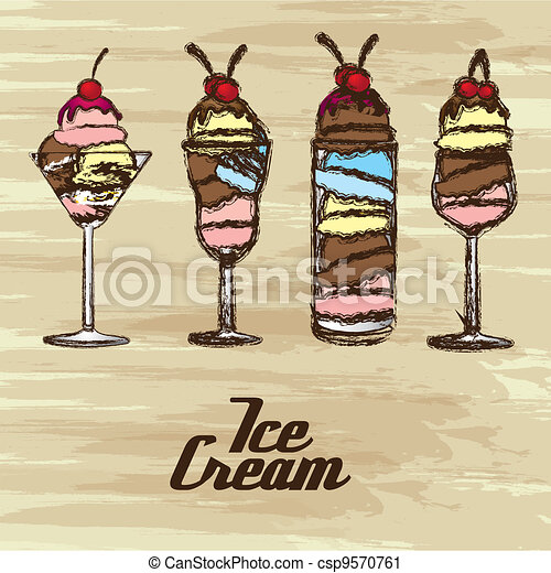 grunge edged ice creams - csp9570761