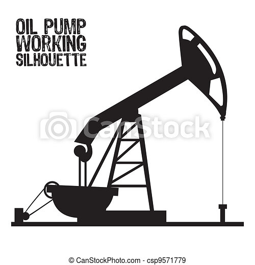 Silhouette of oil pump  - csp9571779