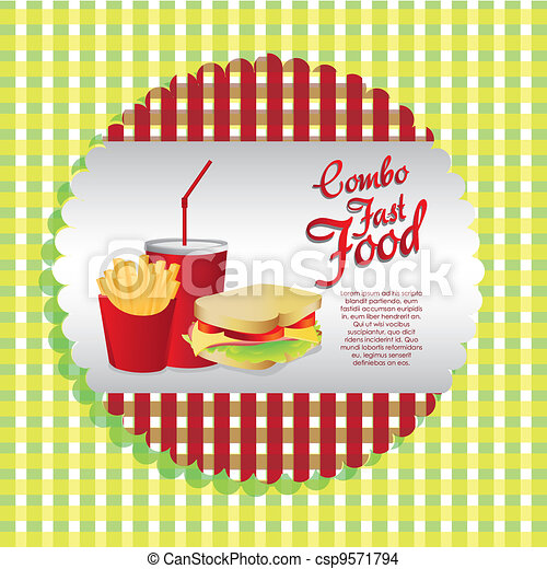 labels fast food combo - csp9571794