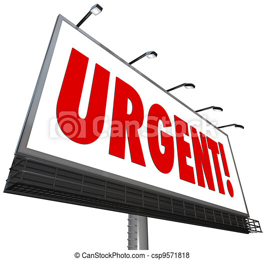 Urgent Word Immediate Attention Billboard Sign - csp9571818