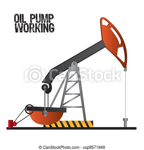 EPS vectores de bomba, aceite, trabajando - aceite, bomba ...