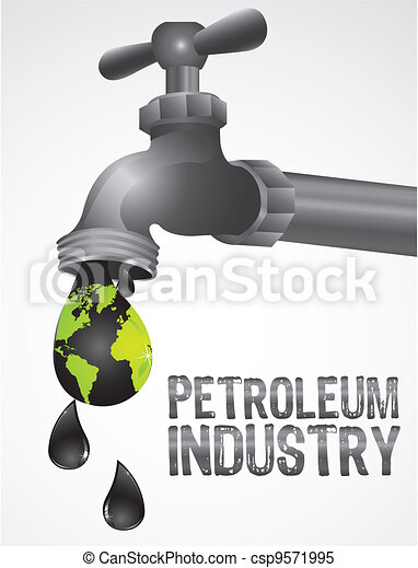 conceptual illustration of an oil leaking tap - csp9571995