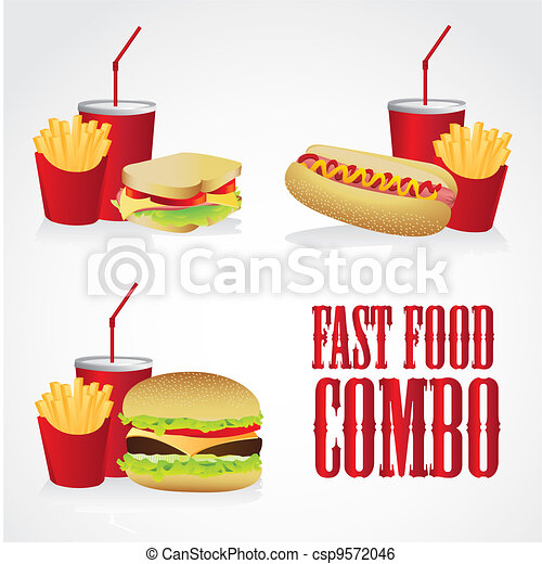 icons of fast food combos - csp9572046