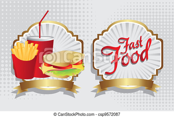 label of a sandwich combo with french fries and soda  - csp9572087