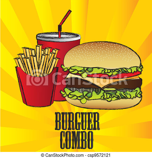 hamburger combo with french fries and soda - csp9572121