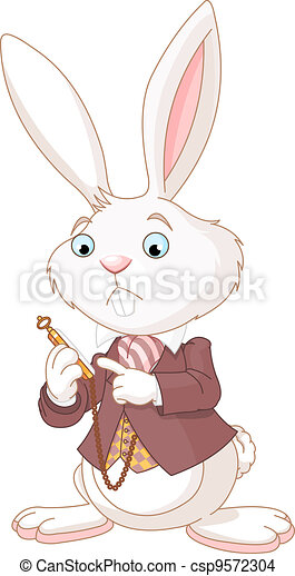 White Rabbit with pocket watch  - csp9572304