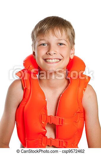 adolescente, em, um, laranja, vida, casaco, para, água, esportes,  -, ligado, Um, branca, fundo - csp9572462