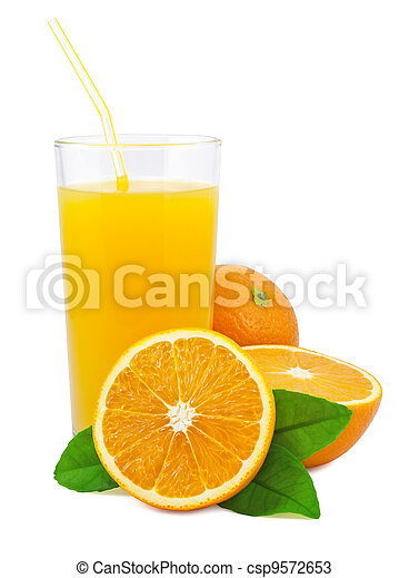 Orange juice and oranges with leaves - csp9572653